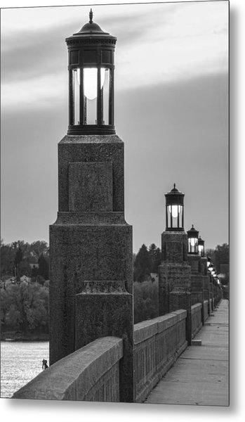 Lights Along The Columbia-wrightsville Bridge In Pennsylvania Metal Print