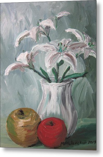 Lilies And Apples Metal Print by Maria Melenchuk