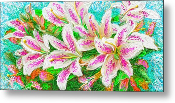 Metal Print featuring the painting Lilies  by Hidden  Mountain