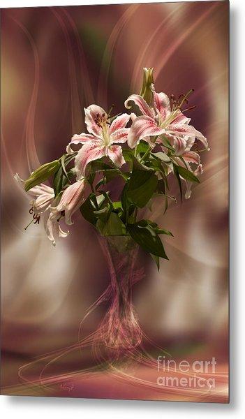 Lilies With Floating Vas Metal Print