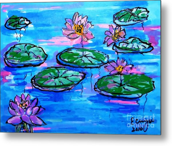 Lily Pond Blues Metal Print