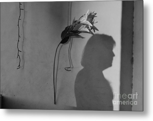 Lily And Male Figure Shadow Metal Print