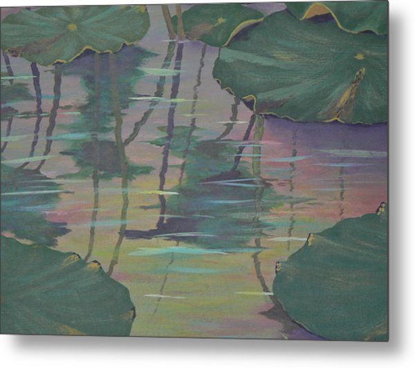 Lily Pad Reflections Metal Print