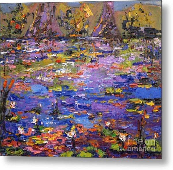 Lily Pond Kaleidoscope Metal Print