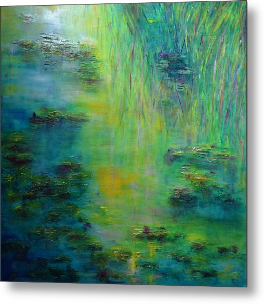 Lily Pond Tribute To Monet Metal Print