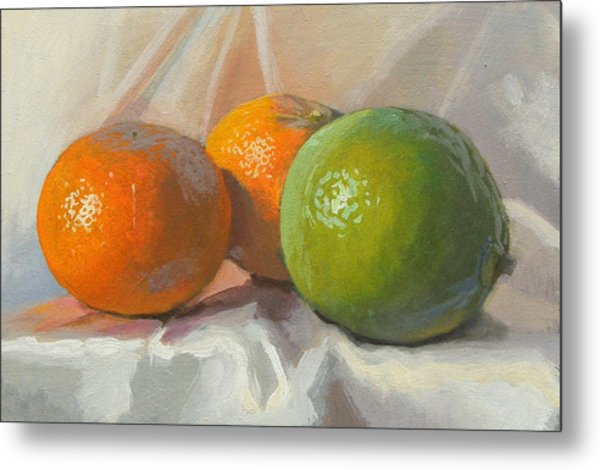 Lime And Clementines Metal Print by Peter Orrock
