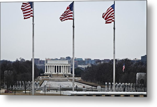 Lincoln And Wwii Monuments 1 Metal Print