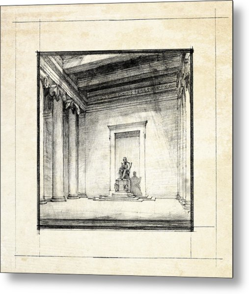 Lincoln Memorial Sketch IIi Metal Print