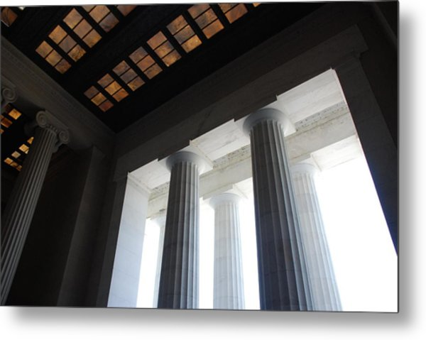 Lincoln Stained Glass And Columns Metal Print