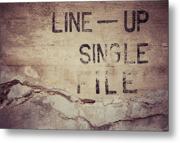 Line Up Single File Metal Print