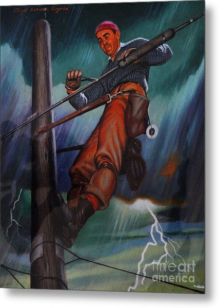Lineman In Storm Metal Print