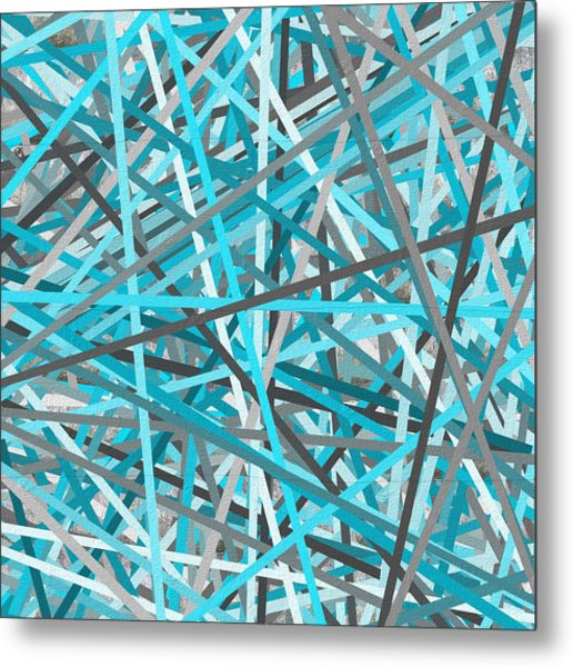 Link - Turquoise And Gray Abstract Metal Print