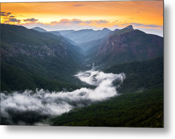 Linville River Of Fog Metal Print