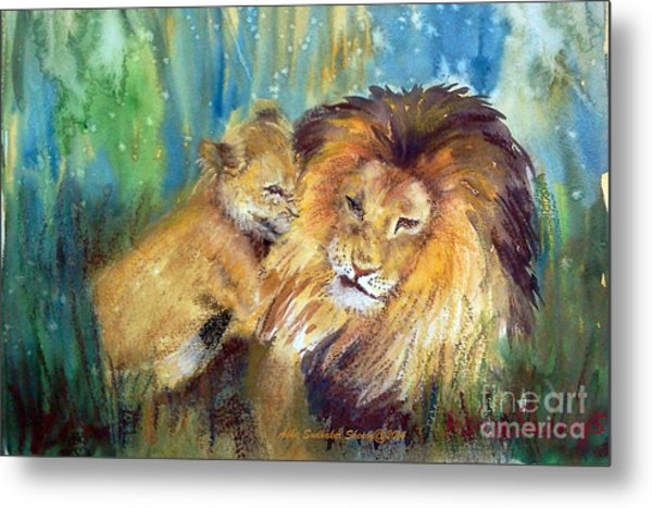Lion And Cub -2 Metal Print