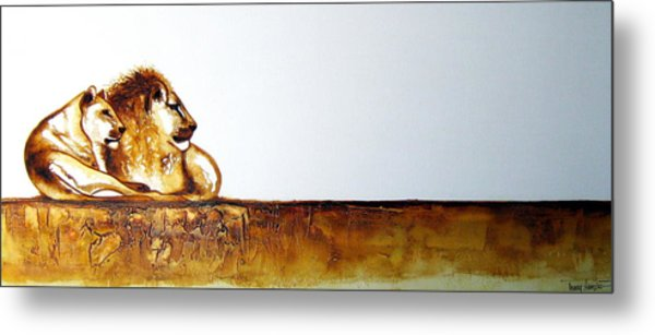 Lion And Lioness - Original Artwork Metal Print