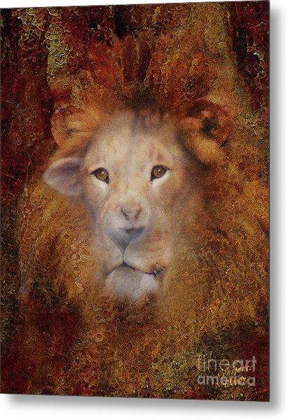 Lion Lamb Face Metal Print