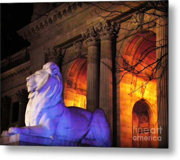 Lion Nyc Public Library Metal Print
