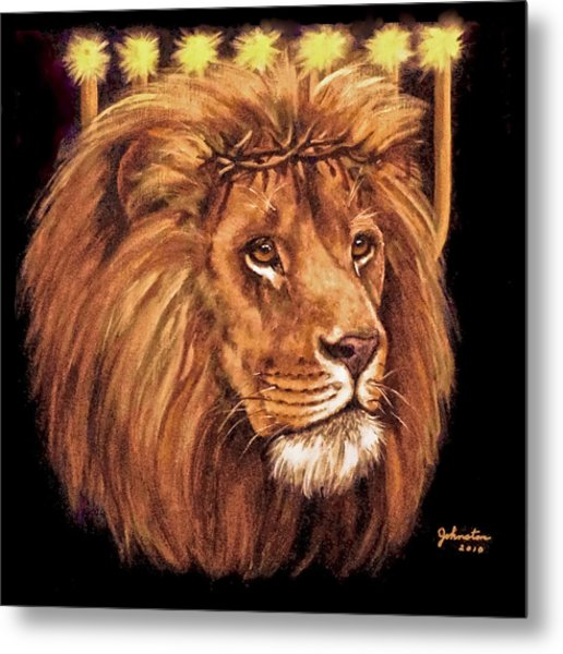 Lion Of Judah - Menorah Metal Print