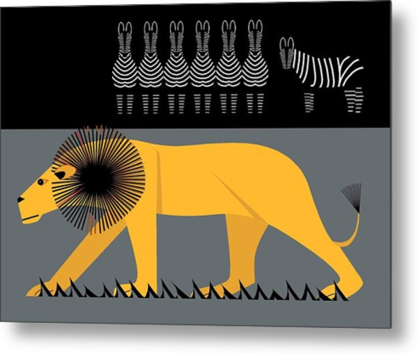 Lion On The Loose Metal Print