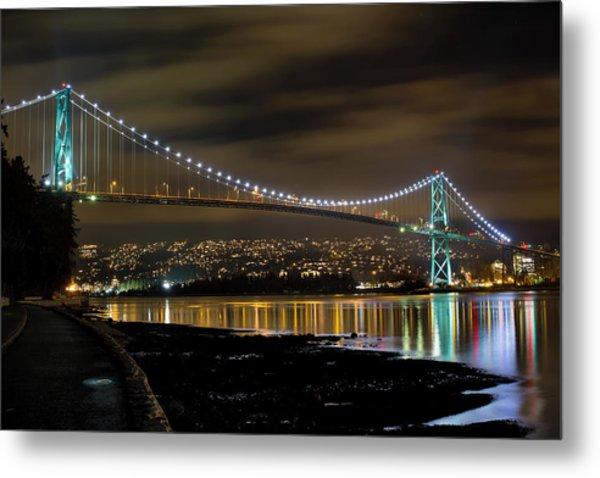 Lions Gate Bridge At Night Metal Print