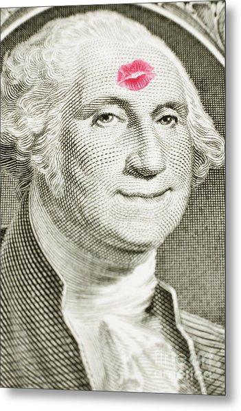Lipstick Kiss On One Dollar Bill Metal Print