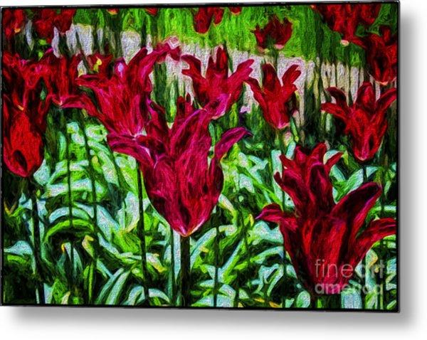 Lipstick Tulips Metal Print
