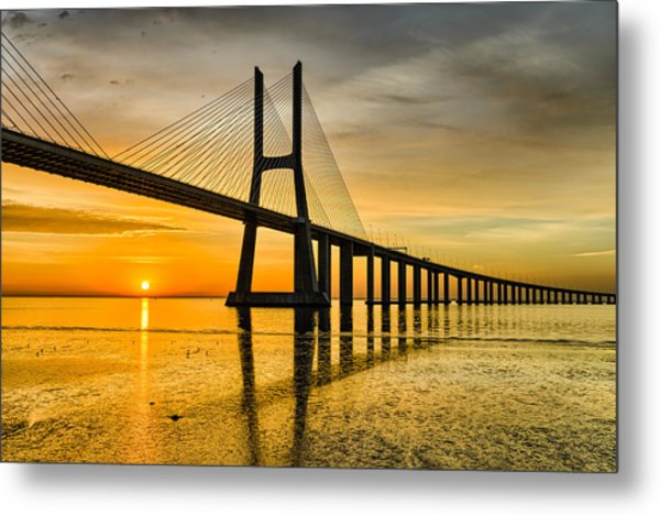 Lisbon Sunrise Metal Print by Michael Abid
