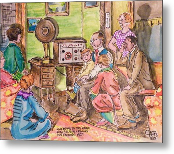 Listening To The Radio Metal Print