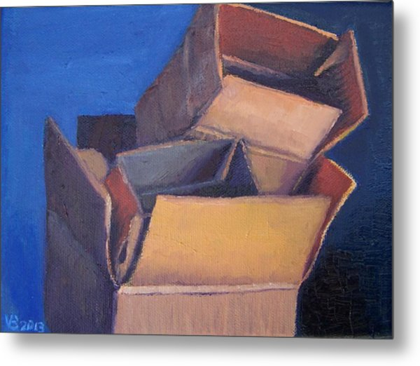 Little Boxes-red Yellow Blue Metal Print