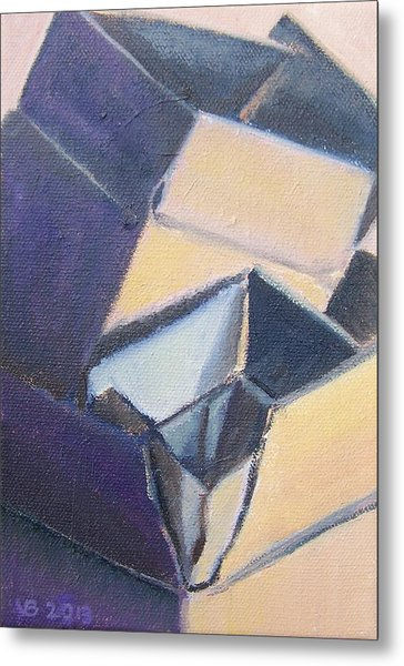 Little Boxes-yellow And Violet Metal Print