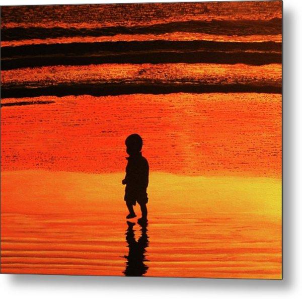 Little Boy At The Beach Metal Print