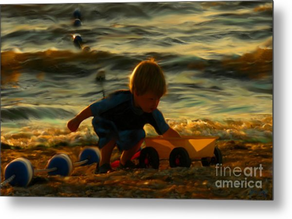 Little Boy On The Beach Metal Print by Jeff Breiman