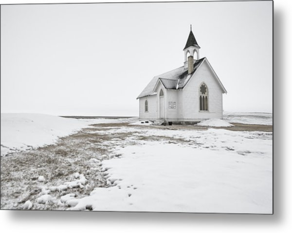 Little Church In The Prairies Metal Print