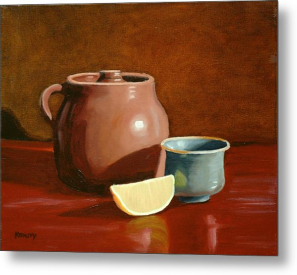 Little Clay Pots And Lemon Metal Print by Daniel Kansky