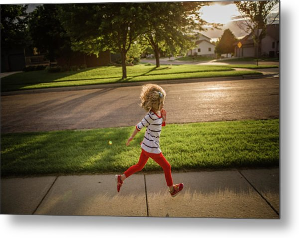 Little Girl Running Metal Print by Annie Otzen