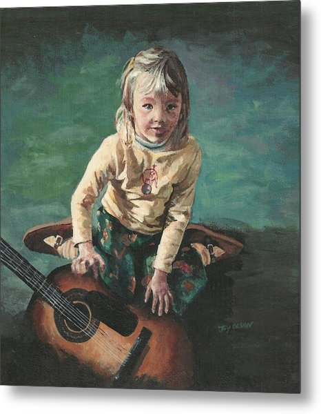 Little Girl With Guitar Metal Print