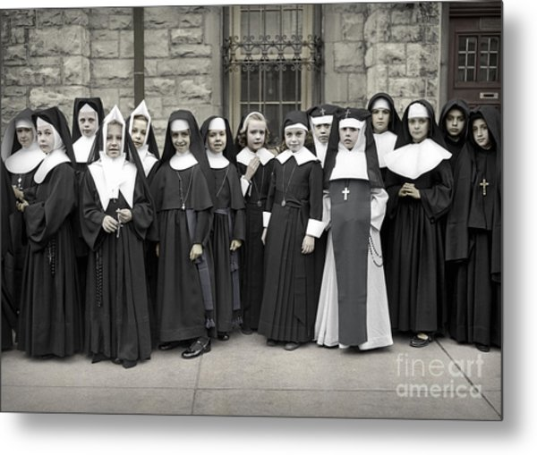 Young Girls Modeling Nun Habits Metal Print