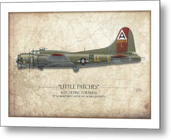 Little Patches B-17 Flying Fortress - Map Background Metal Print