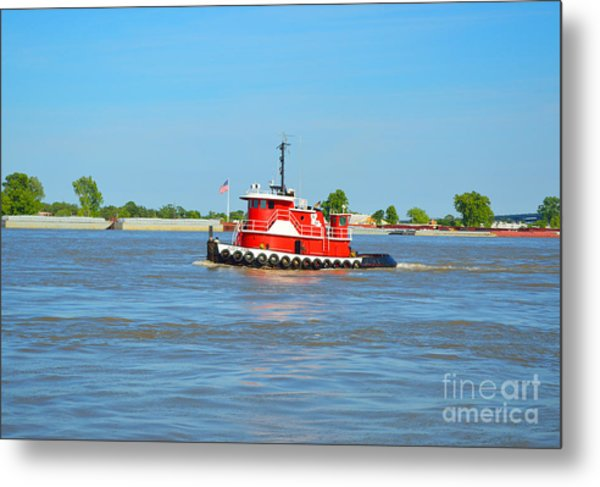 Little Red Boat On The Mighty Mississippi Metal Print