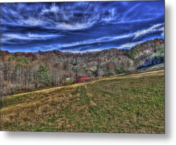 Little Red Hay Loft Metal Print