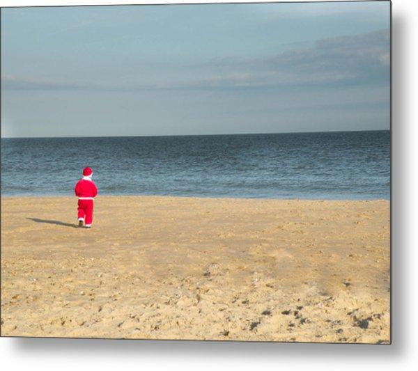 Little Santa On The Beach Metal Print
