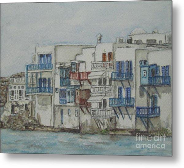 Little Venice Mykonos Greece Metal Print