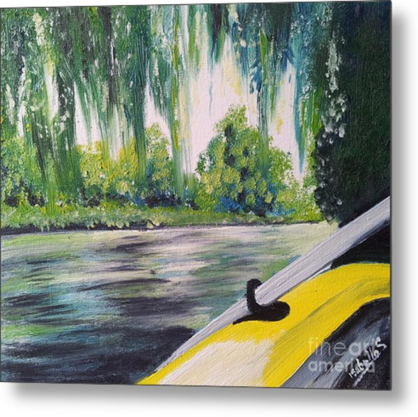 Little Yellow Boat Metal Print