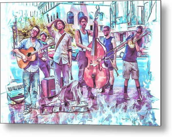 Live Jazz In Asheville Metal Print by John Haldane