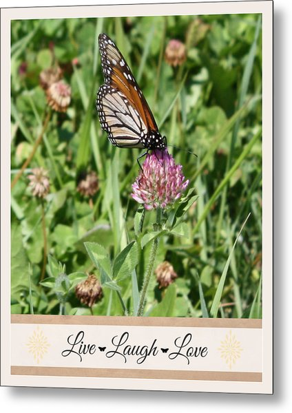 Live Laugh Love Butterfly Metal Print