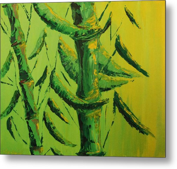 Lively Lime Bamboo Metal Print