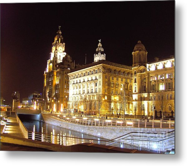 Liver Building And Canal Liverpool Uk Metal Print