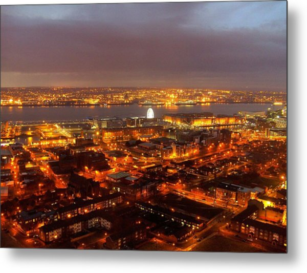Liverpool Wheel And River Mersey Metal Print