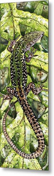 Lizard In Green Nature - Elena Yakubovich Metal Print