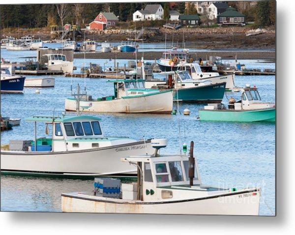 Lobster Boats In Bass Harbor I Metal Print